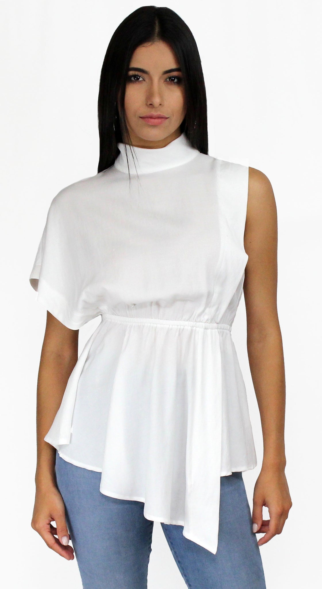Sleek Style White Funnel Neck Blouse