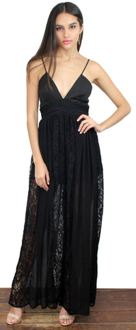 Just Breathe Black Lace Palazzo Jumpsuit