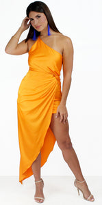 Persuasion Orange Satin One-Shoulder Midi Dress