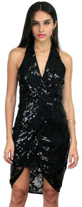 Better in Black Lace & Sequins High-Low Dress