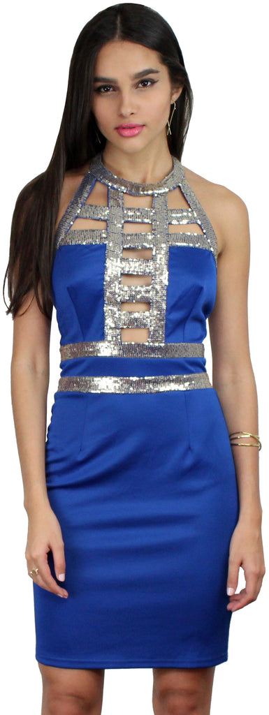 Sequins a Good Time Blue Bodycon Dress
