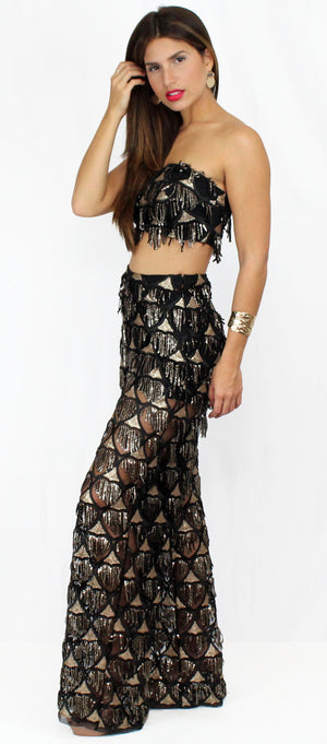 Bardot Black Sequins & Fringe Two-Piece Set