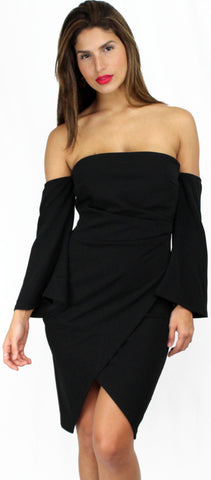 Special Moment Off-Shoulder Black Midi Dress