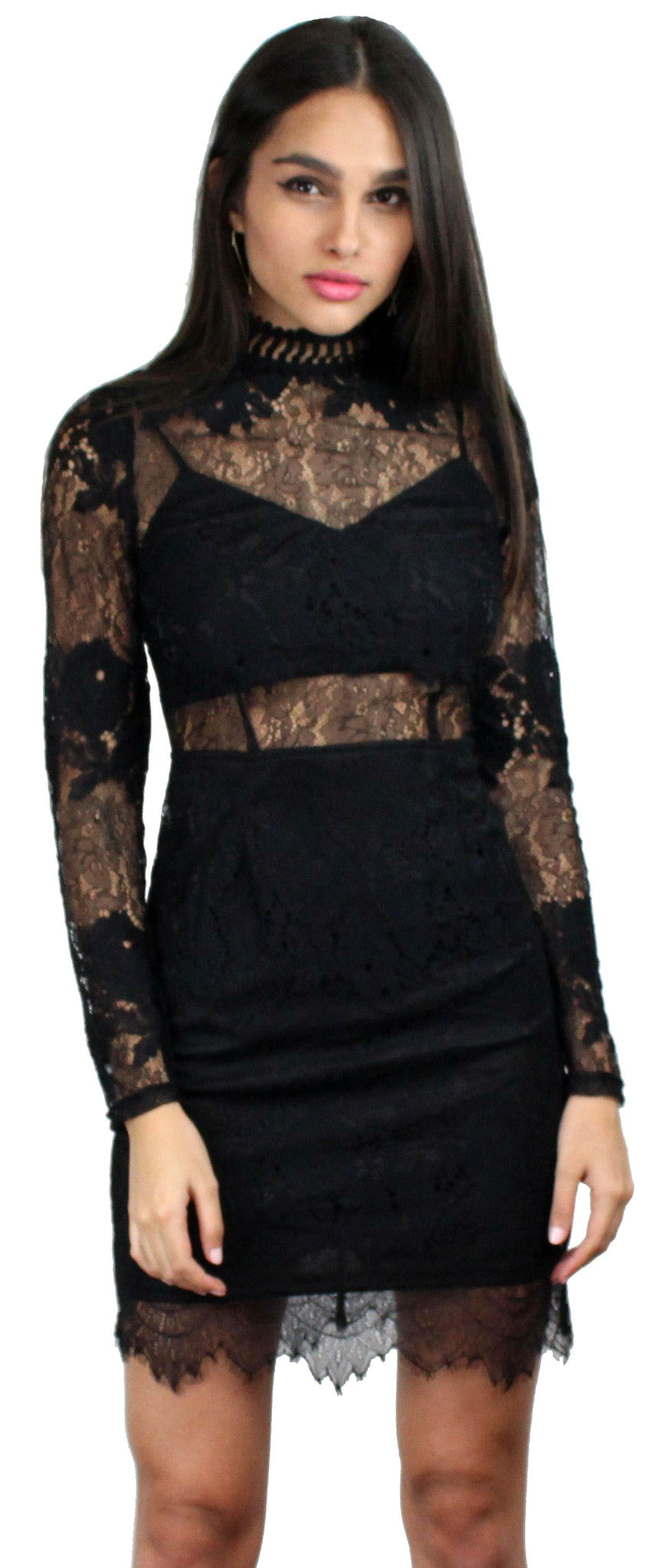 Name of Love Black Lace Long Sleeves Dress