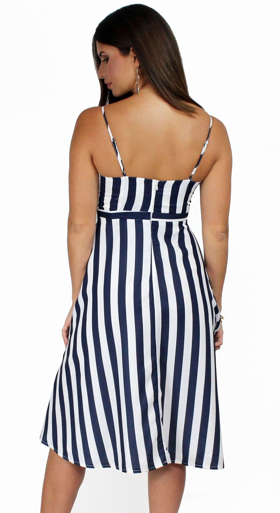 So Fine Navy & White Stripes Midi-Dress