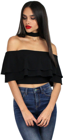 That's my Girl Black OffShoulder Crop Top