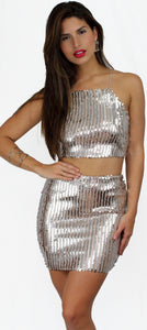 Slay All Day Silver Sequins Two-Piece Set