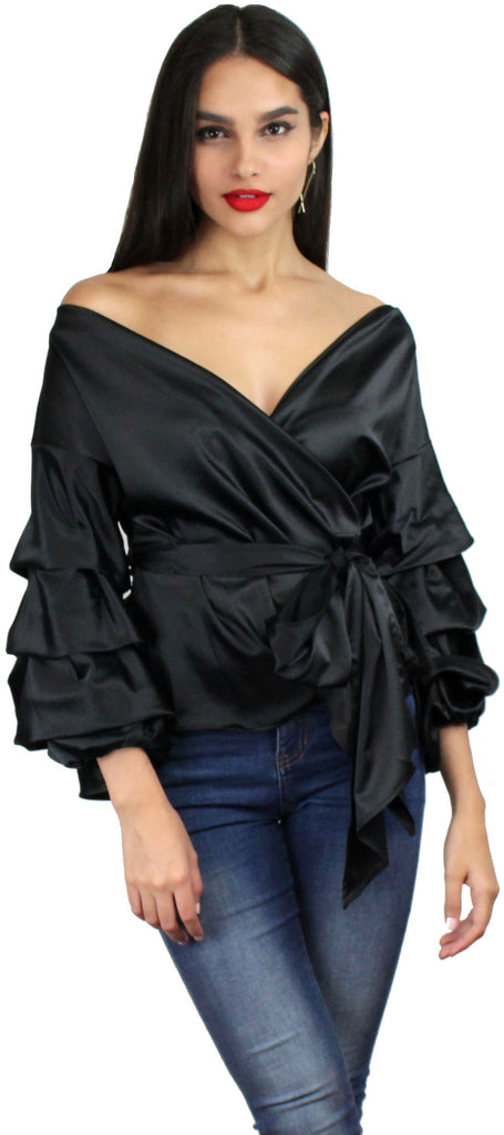 Ring the Bell Black Long Sleeves Blouse