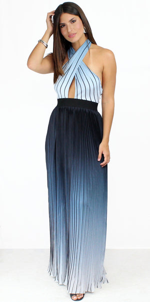 Moon Sea Pleated Blue Ombré Maxi Dress