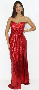 Ready for Red Carpet in Red Sequins Gown