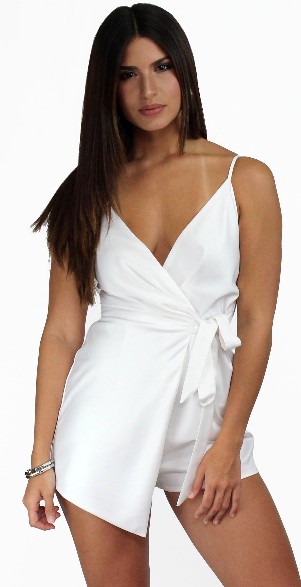 Walk with You White Satin Romper