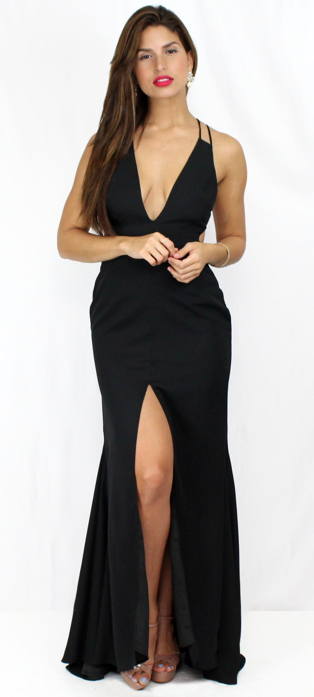 Story of a Night Black Backless Formal Dress