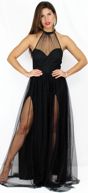 Temptress Black Mesh Formal Gown
