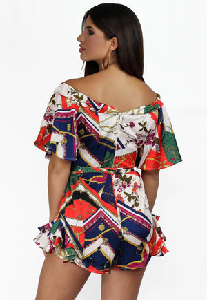 Behold Fun with Scarf Print Satin Romper