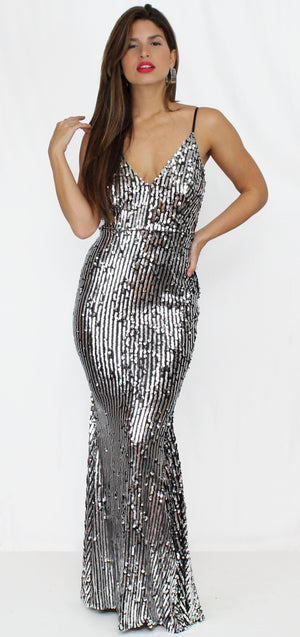 Party Flavor Silver Sequins Gown