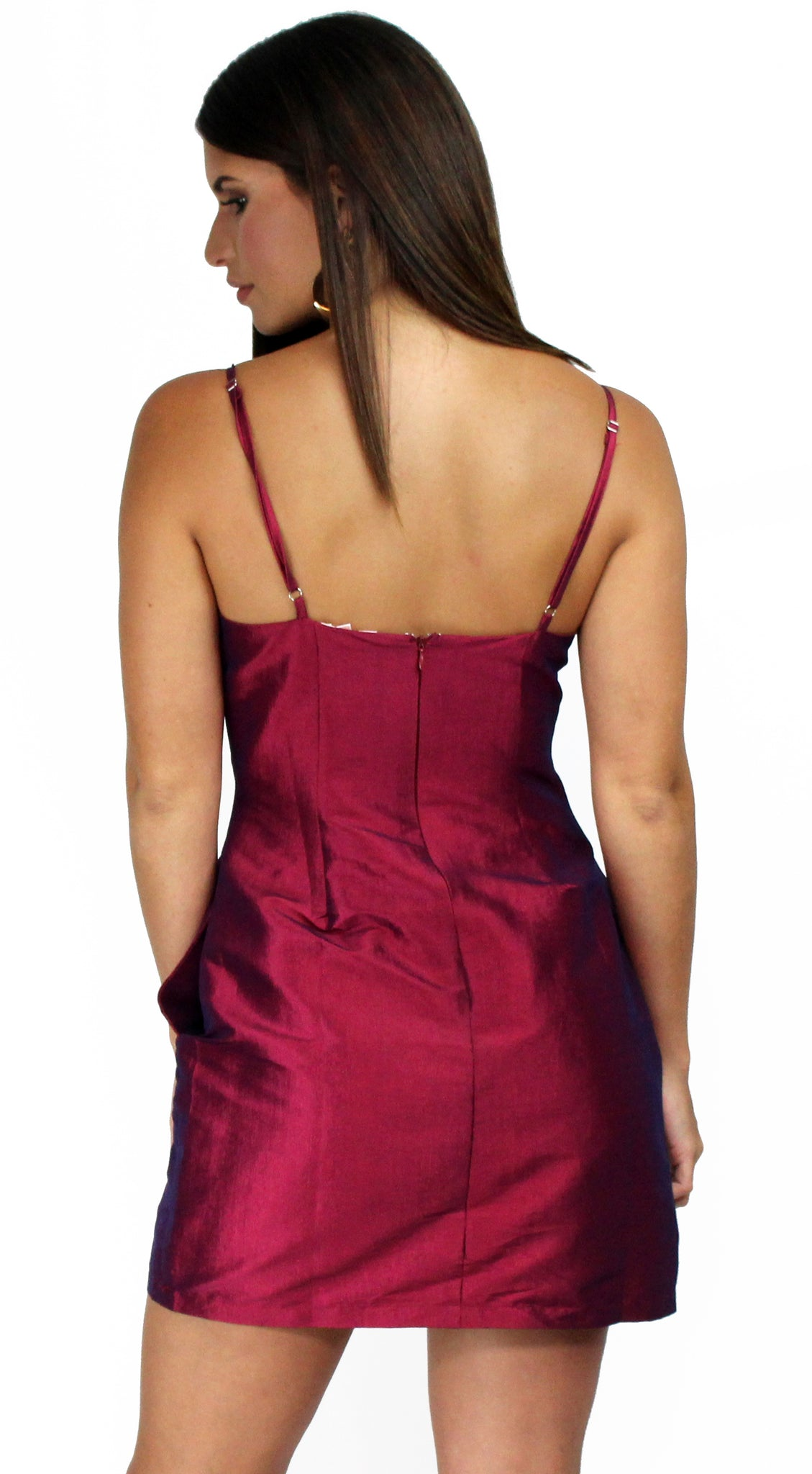 Simply Sultry Wine Satin Mini Dress
