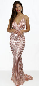 Infinity Glory Rose Gold Sequins Gown