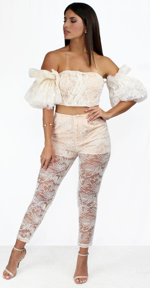 Daydreaming White Lace Ruffle Two-Piece Set