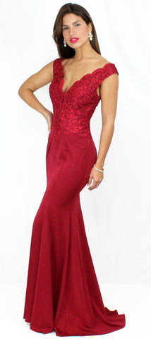 Aveline Burgundy Lace Formal Gown