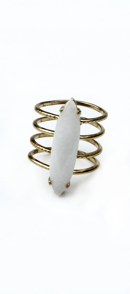 Trend Topper White and Gold Ring