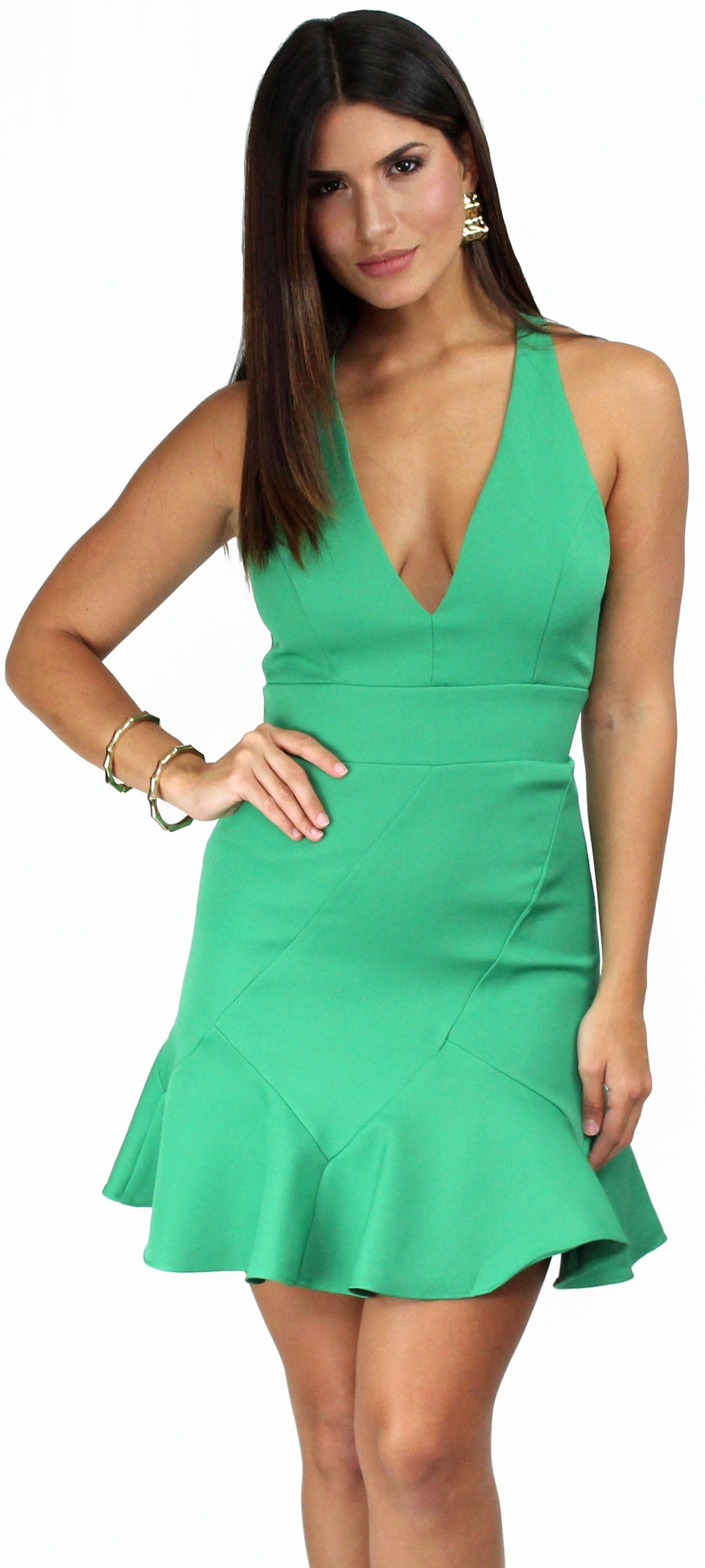 Lover of Mine Green Ruffle Mini Dress