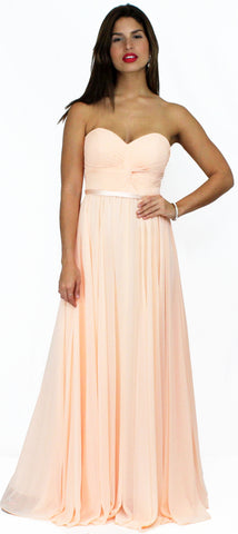 Air of Romance Peach Strapless Formal Gown