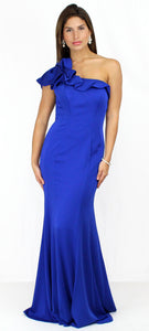 Ocean of Elegance Blue One-Shoulder Gown