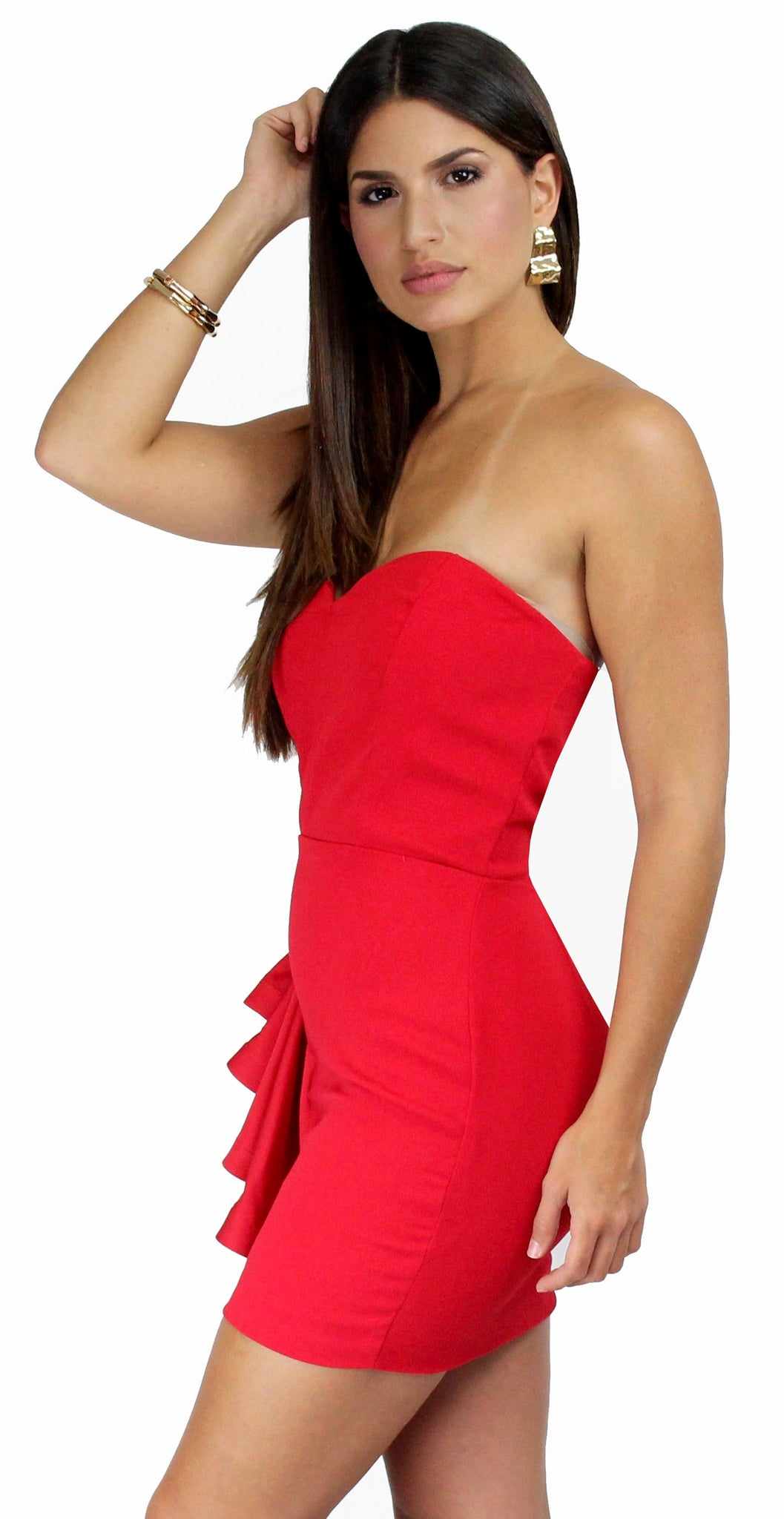 Cocktail Queen Red Side Ruffle Mini Dress