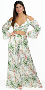 Sunny Afternoon Tropical Print Two-Piece Set