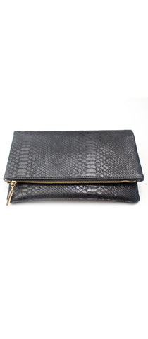 Get Up and Go Snake Black Clutch