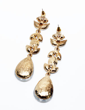 Special Moment Rhinestones Gold Earrings