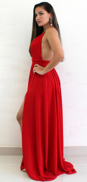 Waltz Happening Red Halter Formal Gown