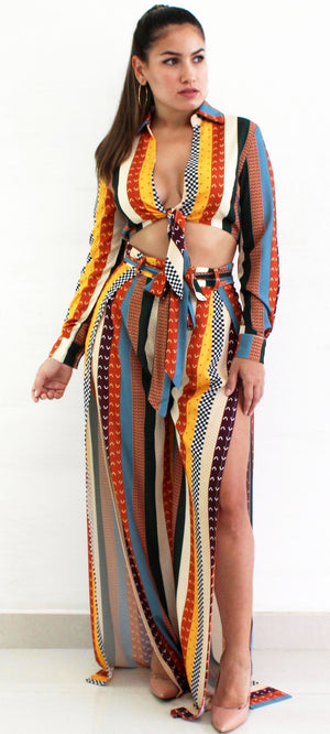Significant Multi Stripes Print Two-Piece Set