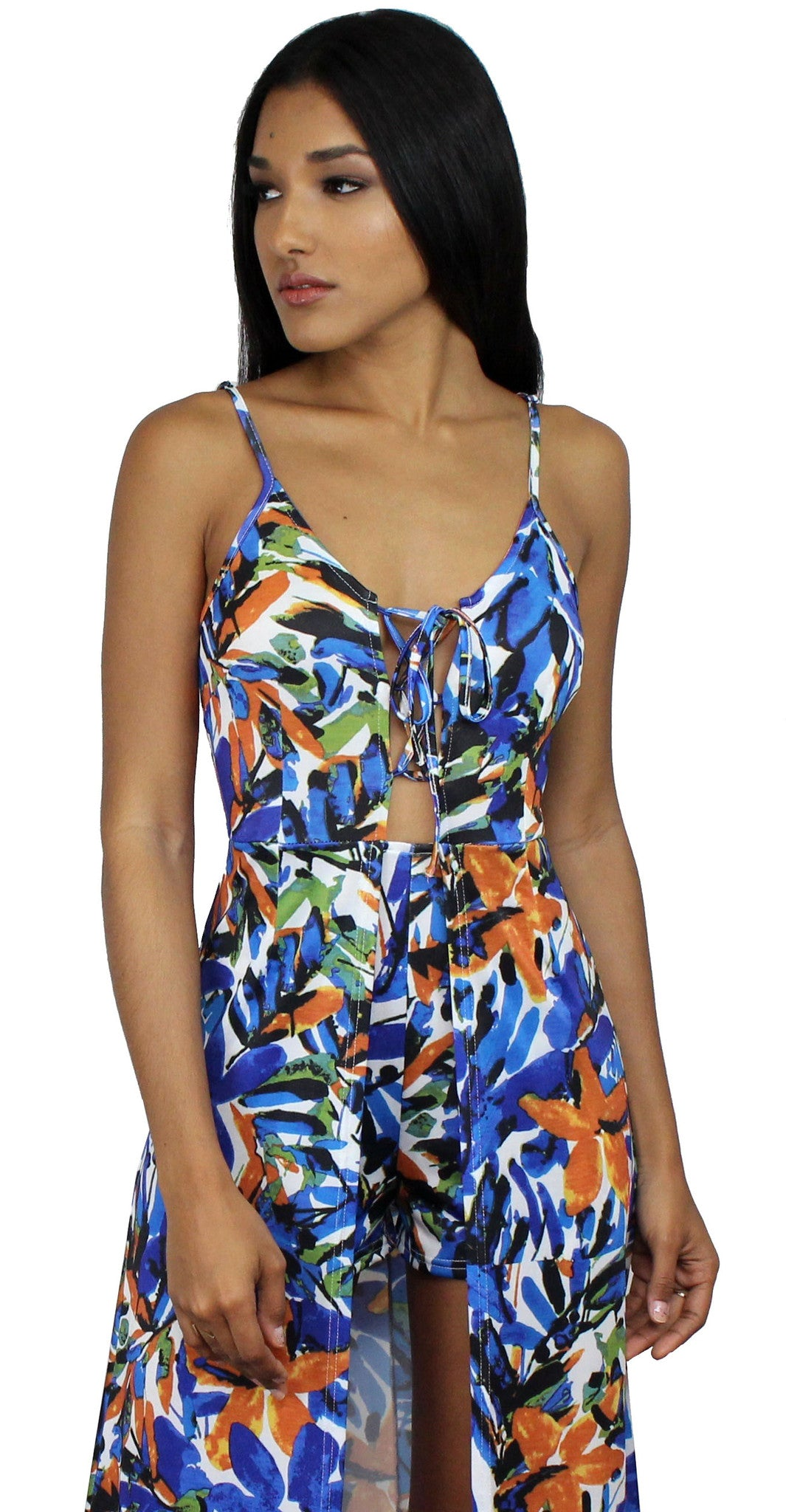 Love for Tropical Floral Print Maxi-Romper