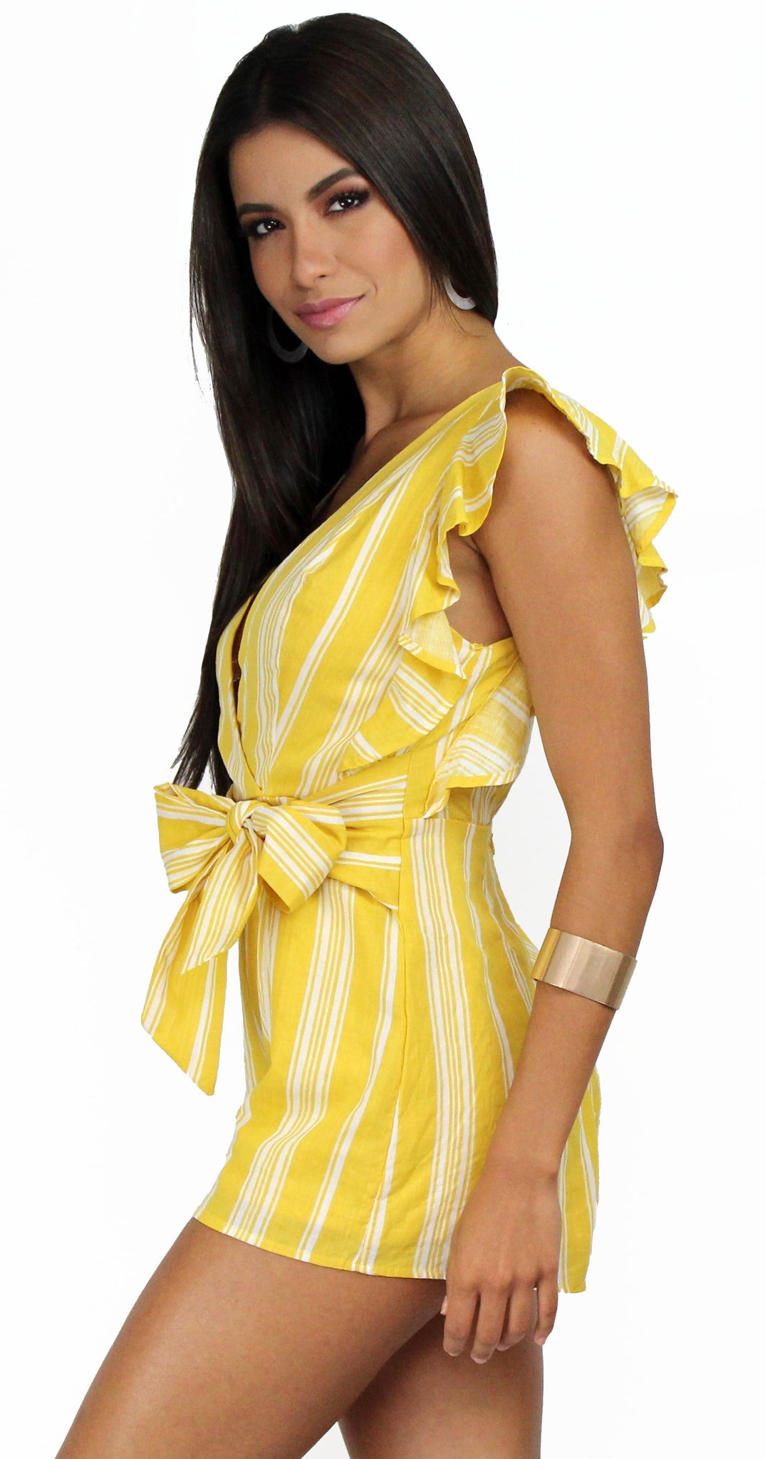 Fresh Picked Yellow Stripes & Ruffles Romper