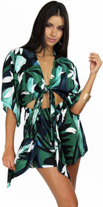 Tropical and Sweet Palms Print Romper