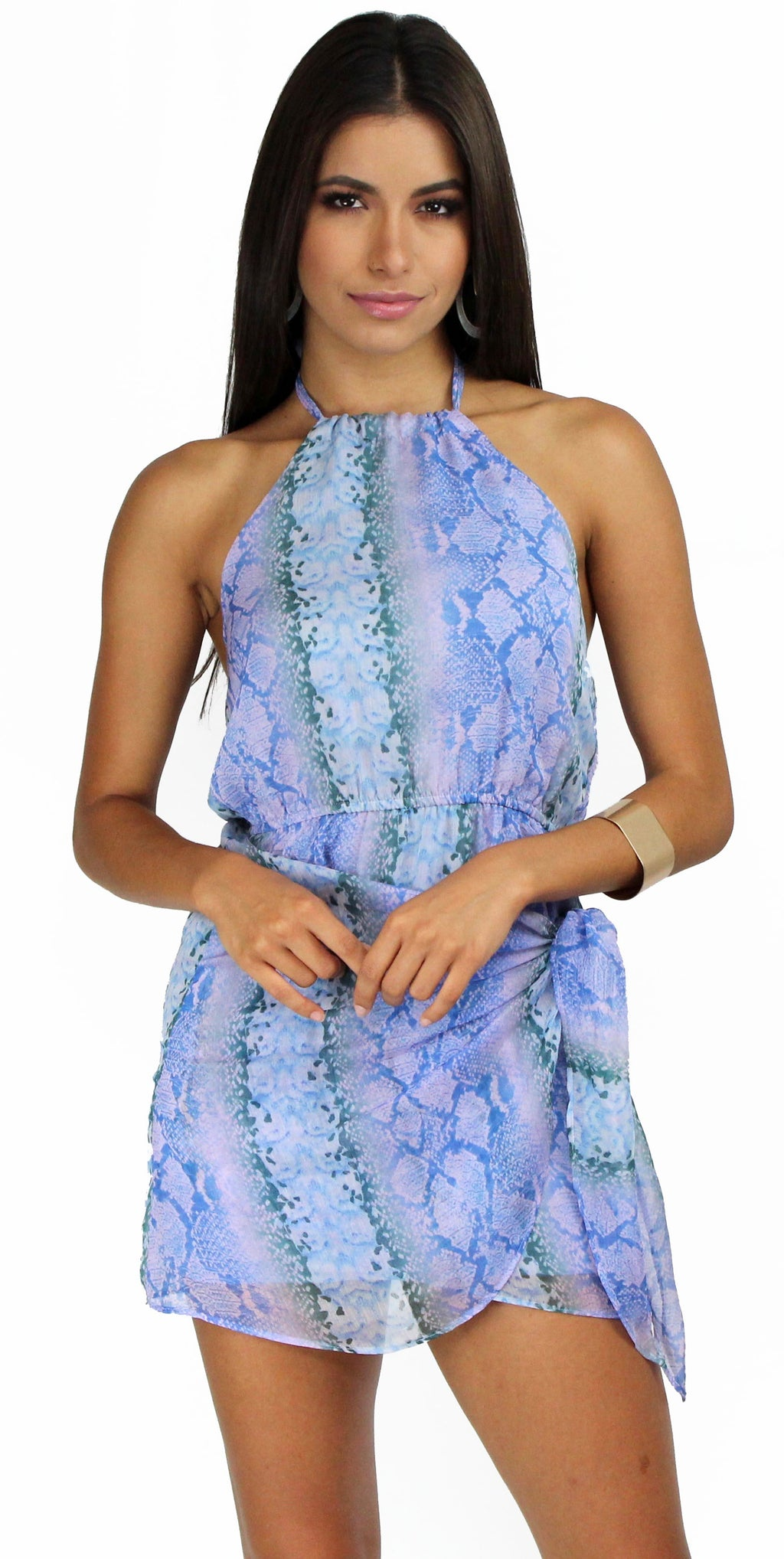 Tropical & Wild Blue Snake Print Halter Dress