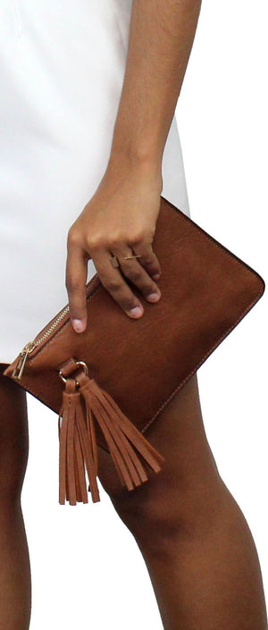 Sunswept Brown Suede Leather Clutch