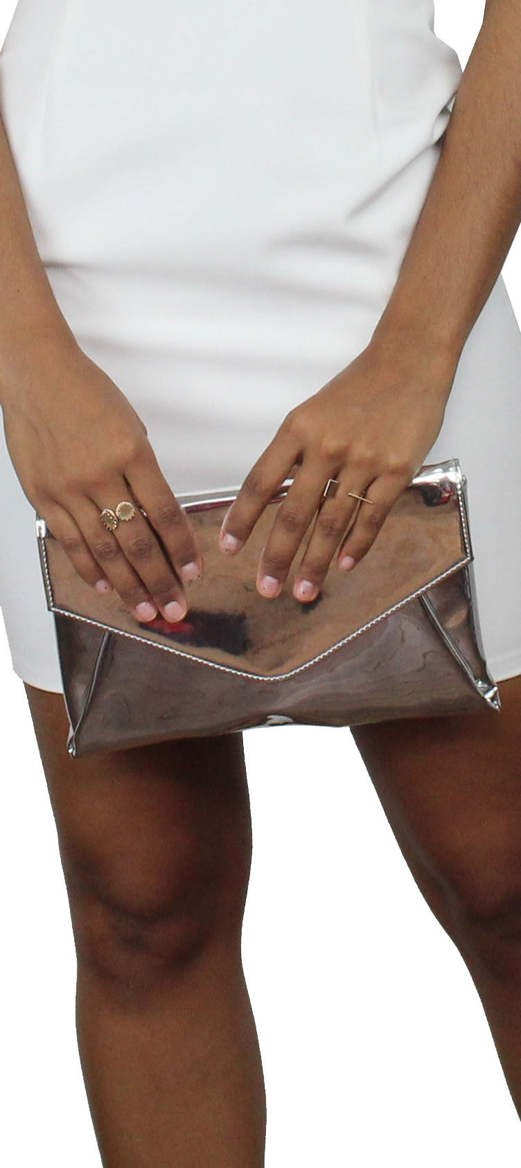 New Image Metallic Silver Clutch
