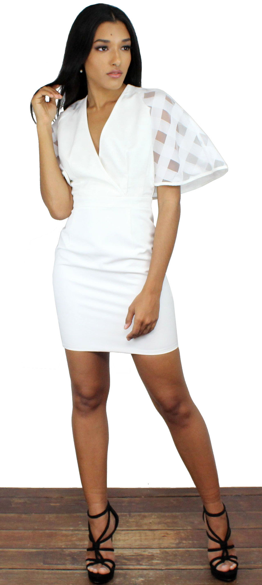 Spice Twirl White Bell Sleeves Dress