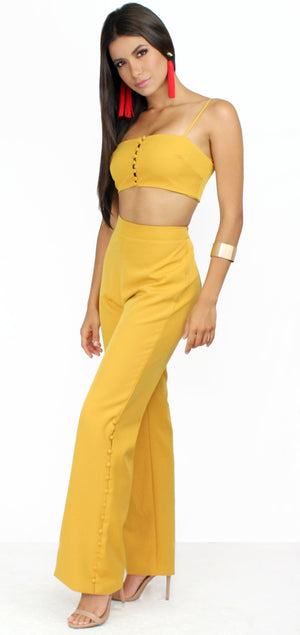 Golden Sunset Mustard Palazzo Two-Piece Set