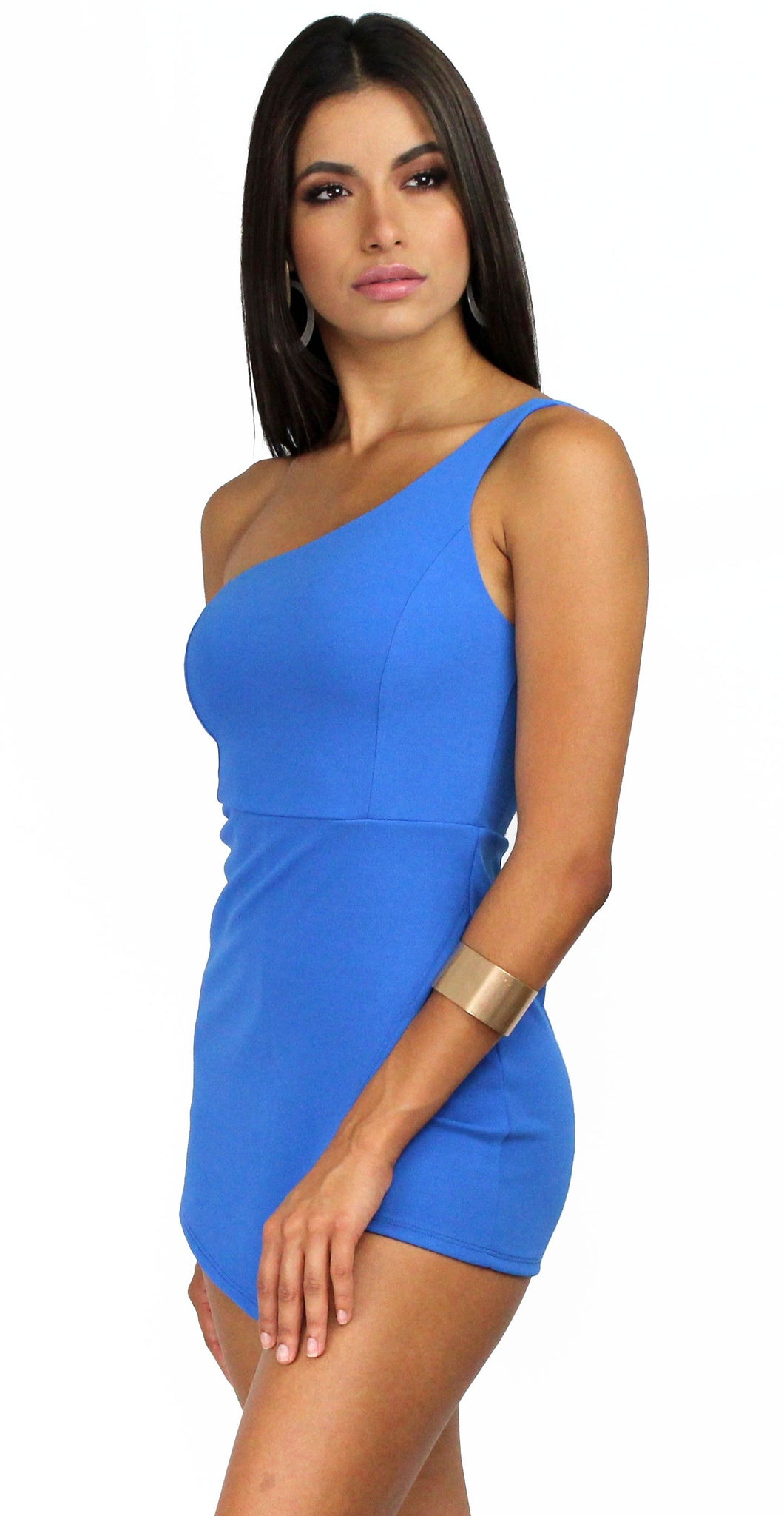 Bufferfly Effect Blue One-Shoulder Romper