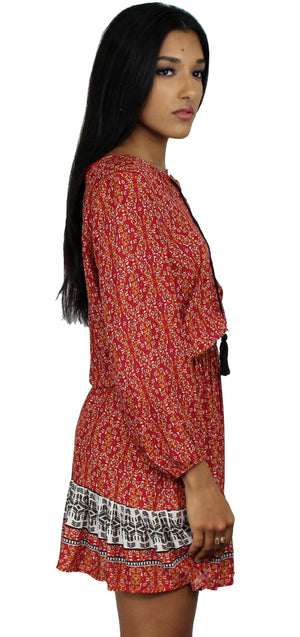 At Ease Red Print Lace-Up Boho Skater Dress
