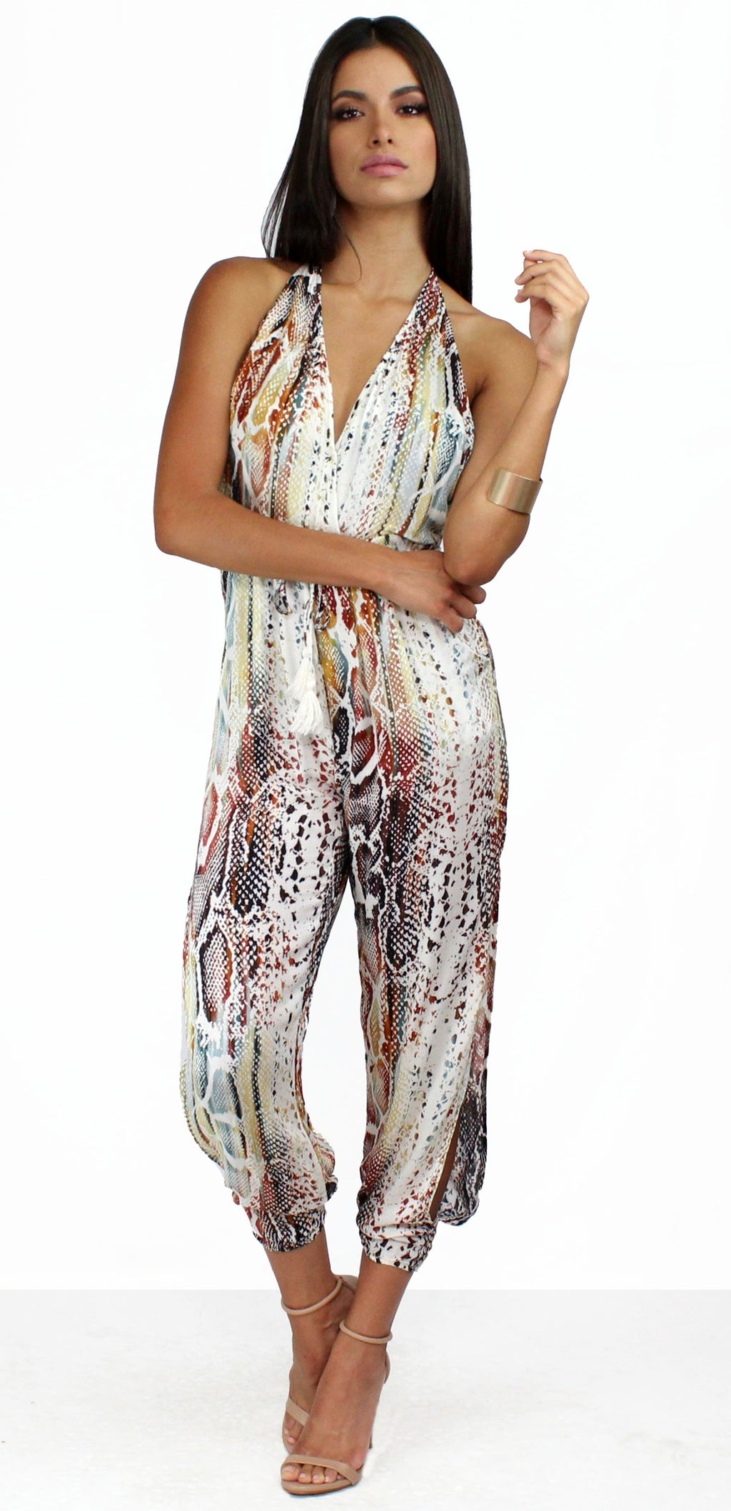 Wild and Colorful Snake Print Jumpsuit