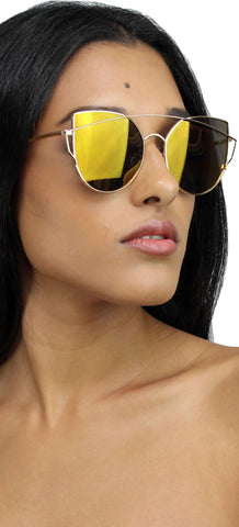 Miss Gold Sky Mirroed Sunglasses