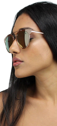 Perverse Gold Rose Mirrored Sunglasses