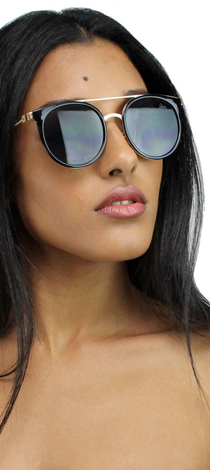 Madness Black & Gold Round Sunglasses