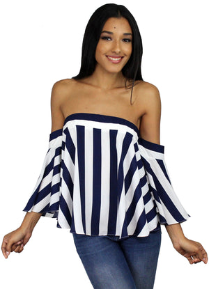 In Your Arms Navy Stripes Off-the-Shoulder Top