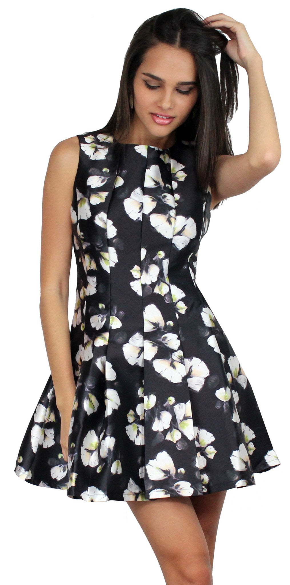 La Brea Black Floral Print Fit & Flare Dress