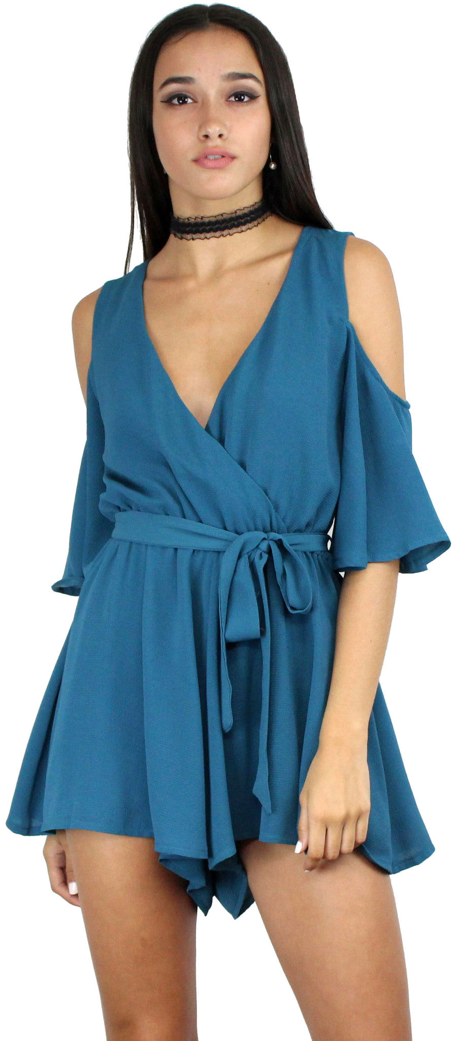 Dance It Out V-Neck Teal Romper